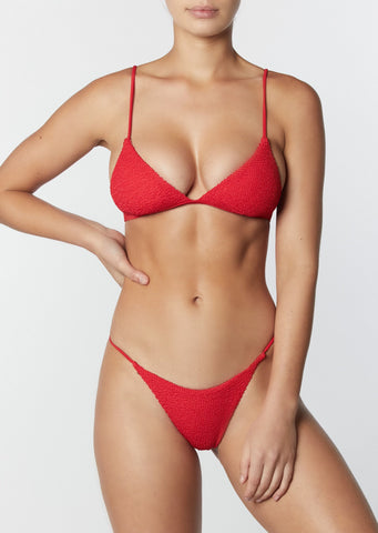 The Bralette Top- Crinkle Red