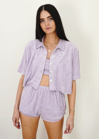 Cropped Terry Shirt - Lilac