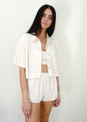 Cropped Terry Shirt - Stone