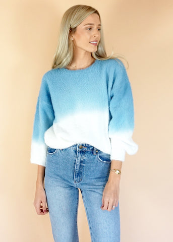 Blue & White Tie Dye Sweater
