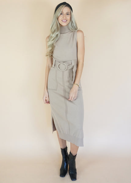 Taupe Belted Knit Dress