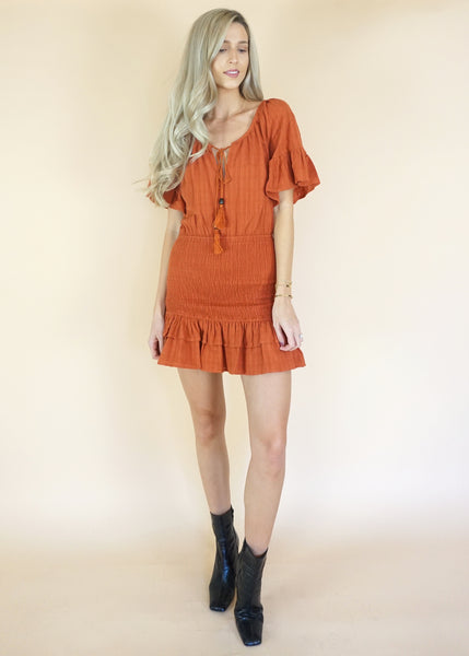 Smocked Terracotta Dress