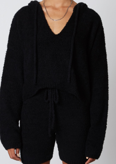 Notched Hooded Sweater