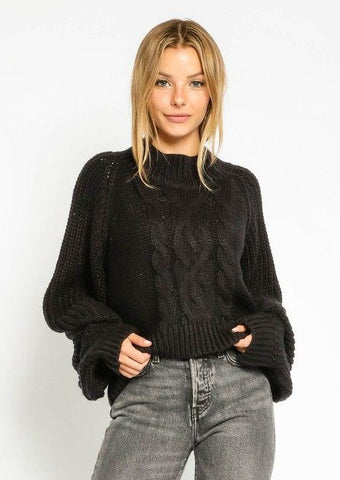 Claire Cable Sweater - Black