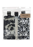 Refillable Travel Pouches 3pc Set - Black & Ivory