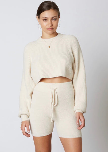 Rowan Crop Sweater - Stone