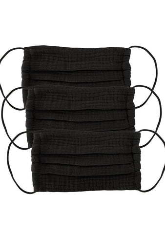 Cotton Mask 3pc Set - Black