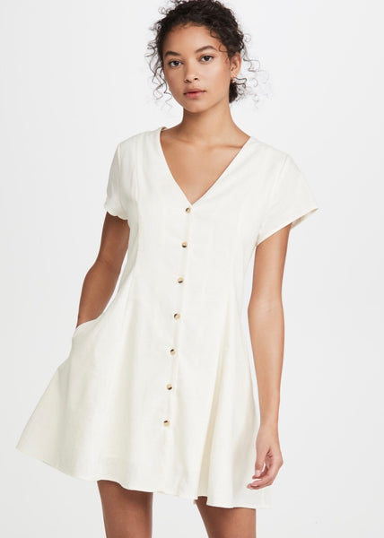 Milla Linen Dress Vintage White