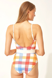Nina Belted One Piece Beach Plaid