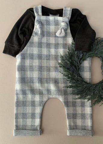 Grey Plaid Overalls