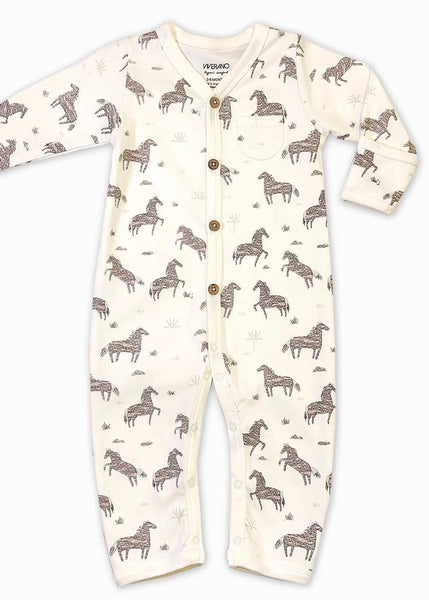 Cream Horse Coverall Romper