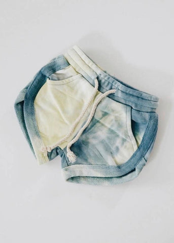 Baby Tie Dye Track Shorts - Denim + Pale Lime