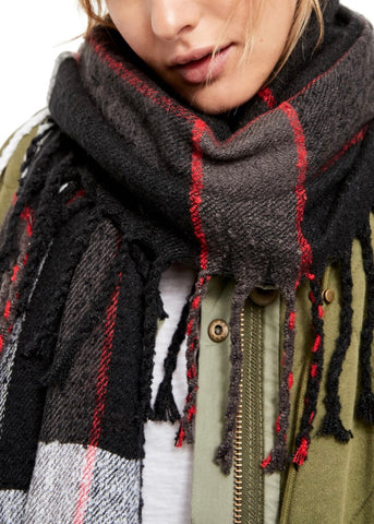 Valley Plaid Fringe Scarf Black