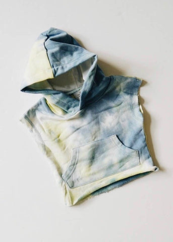 Baby Tie Dye Cut Off Hoodie - Denim + Pale Lime