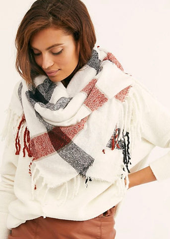 Valley Plaid Fringe Scarf Ivory