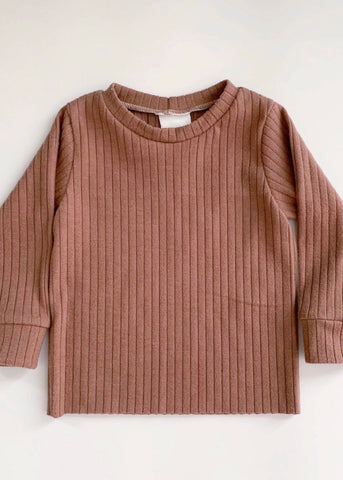 Dusty Rose Ribbed Long Sleeve