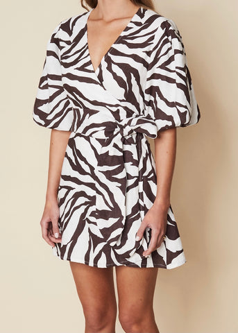 Godiva Wrap Dress - Javelina Animal