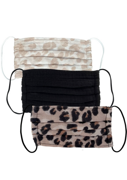 Cotton Masks 3pc Set - Leopard