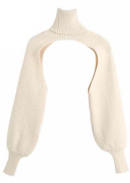 Turtleneck Cable Shrug - Cream