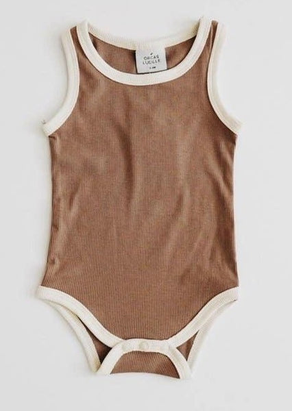 Baby Ribbed Bodysuit - Chocolate