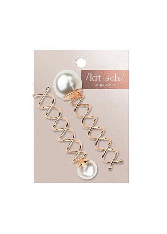 Pearl Bun Twist Metal Bobby Pins