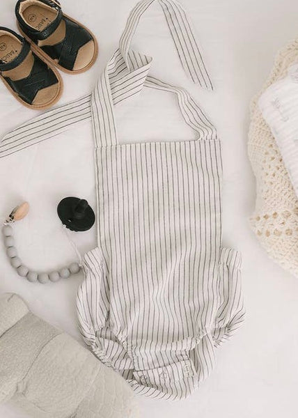 Summer Baby Romper Black White Striped