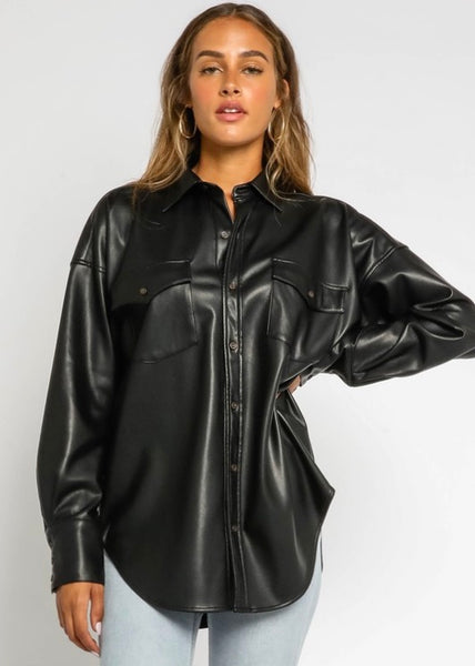 Vegan Leather Shirt - Black