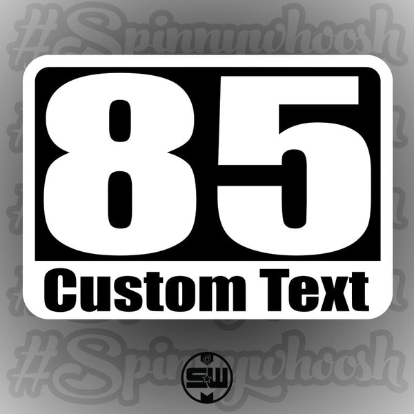 Autocross Numbers - Custom Text Style - White Backing Alternate