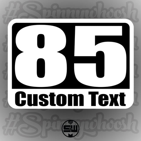 Static Cling Racing Numbers - Custom Text Style