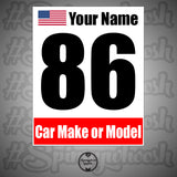Racing Numbers - Make/Model/Flag