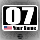 Autocross Numbers - Name/Flag Style - White Backing Alternate