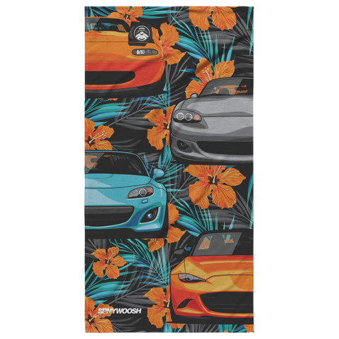 Miata Beach Towel 2020 - Orange Hibiscus Floral