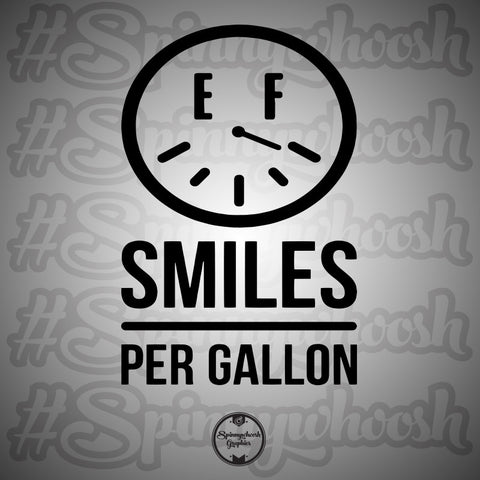 Smiles Per Gallon Decal