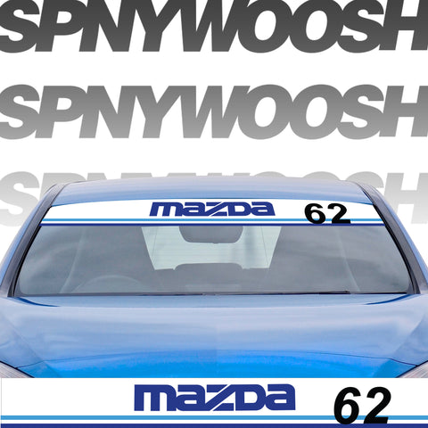 "MAZDA Windshield Banner Decal 4/"" x 36/"" SOLID LETTERS"