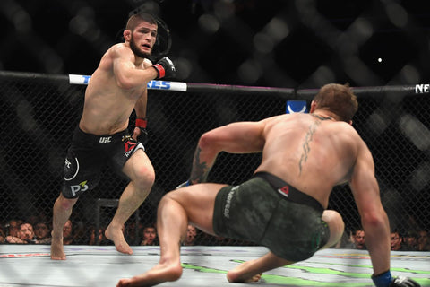 Khabib about to kick Connor Mcgregor