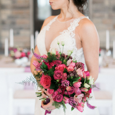 Bright Pink Hot Design Lush flowers wedding bouquet bride bridal bridesmaid florist flowers