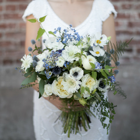 Woodland Wildflower Wedding Bouquet Bridal Bride Bridesmaid White Blue Flowers Portland OR