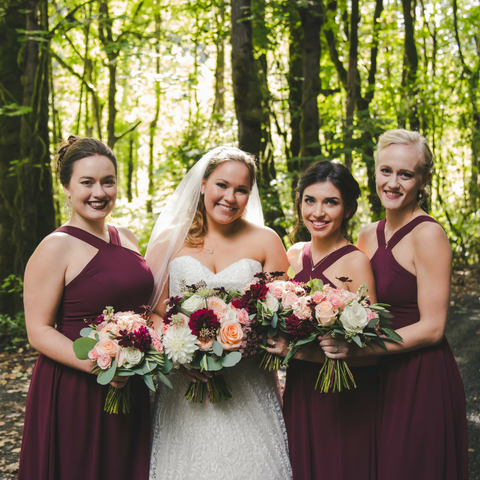 woodland bridal bouquet burgundy blush bridesmaids bouquet