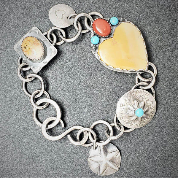 Jasper, Coral and Turquoise Silver Link Bracelet
