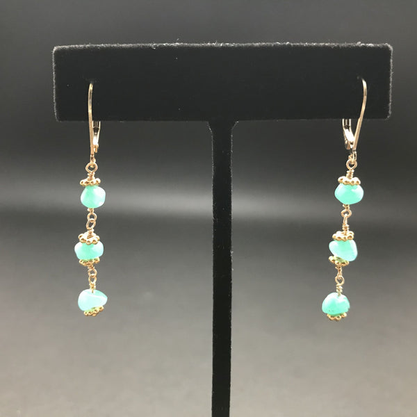 Earrings, Emerald Nugget Triple