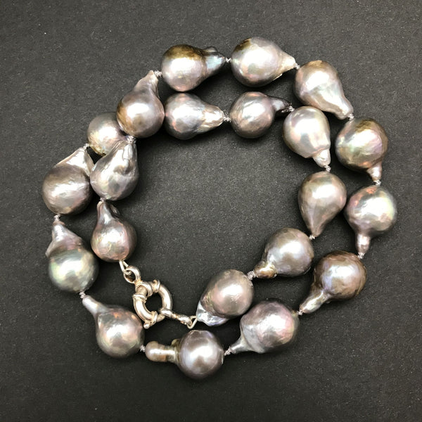 Necklace, Silver Baroque Pearls
