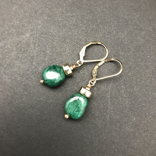 Earrings, Emerald Nugget Single