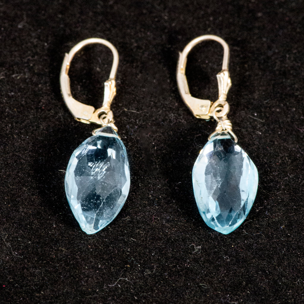 Earrings, Baby Blue Topaz Marquise
