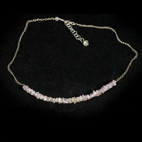 Necklace, White Sapphire on Sterling Chain