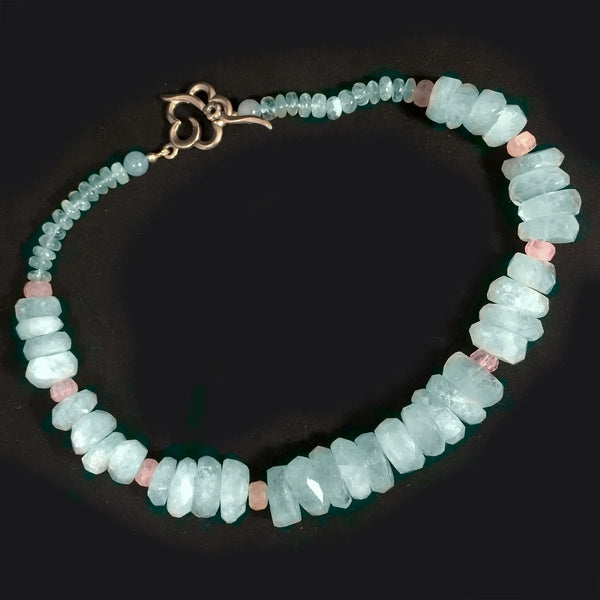 Necklace, Aquamarine Faceted Chunks with Morganite