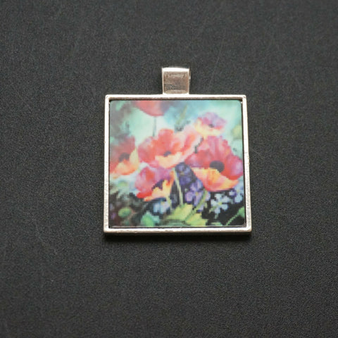 Square Poppies Watercolor Pendant