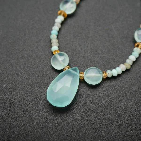 Blue Gemstone Dream Necklace - 22 inches