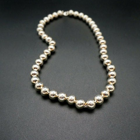 Sterling Silver Bead Necklace - 10mm - 19 inches Long
