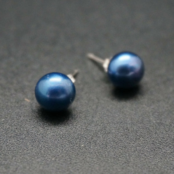 Blue Pearl Stud Earrings
