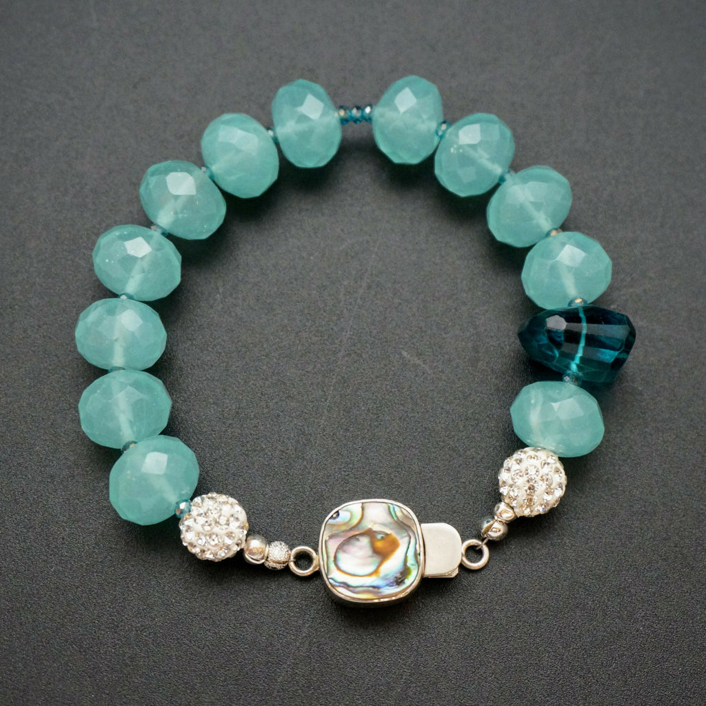 Blue Chalcedony Bracelet with Abalone Clasp